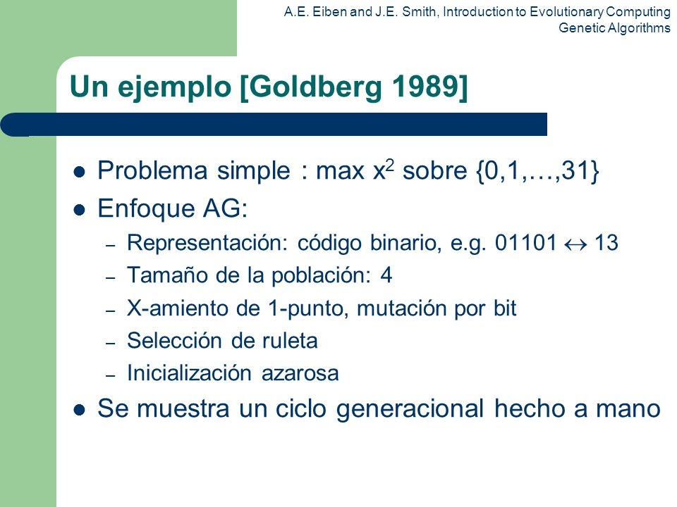 Un ejemplo [Goldberg 1989] Problema simple : max x2 sobre {0,1,…,31}